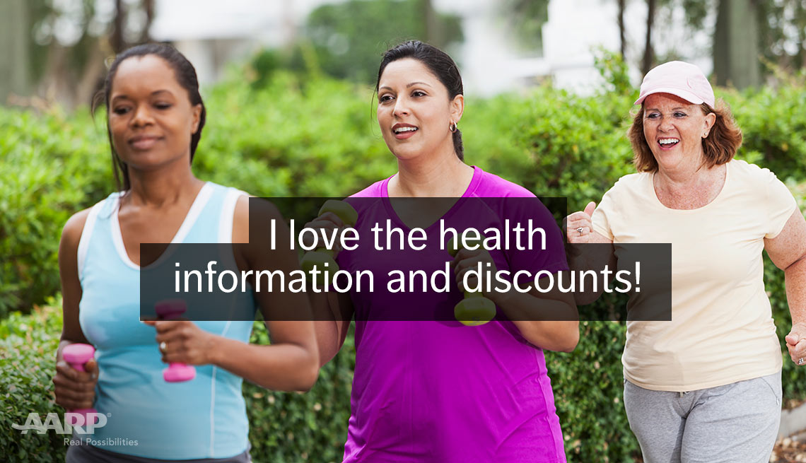 item 9 of Gallery image - African american woman, hispanic woman and a caucasian woman jog outdoors with text that reads I love the health information and discounts.