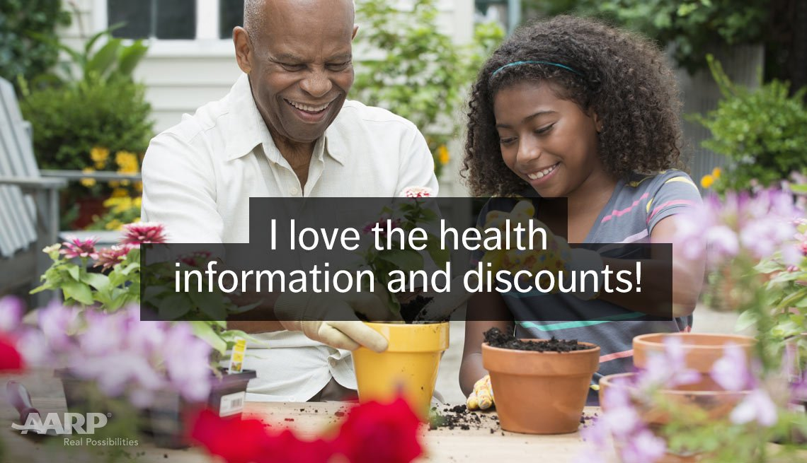 African-american man pots new plants with granddaughter with text that reads I love the health information and discounts.