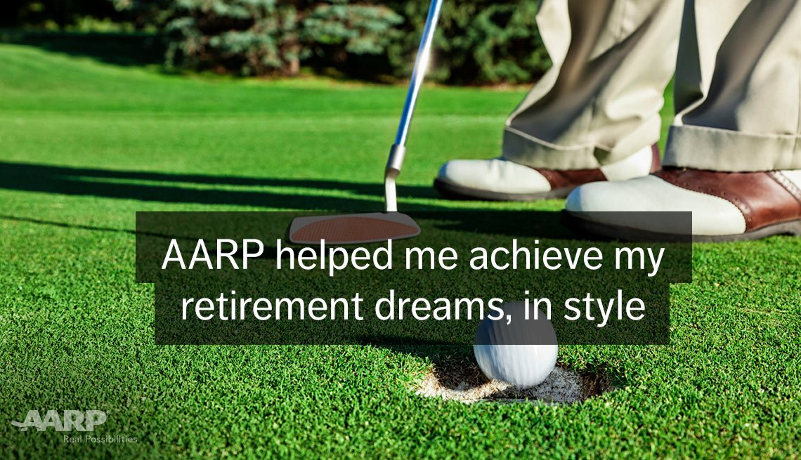 Golf ball hole green putter saddle oxford shoes. A A R P helped me achieve my retiremement dreams, in style.