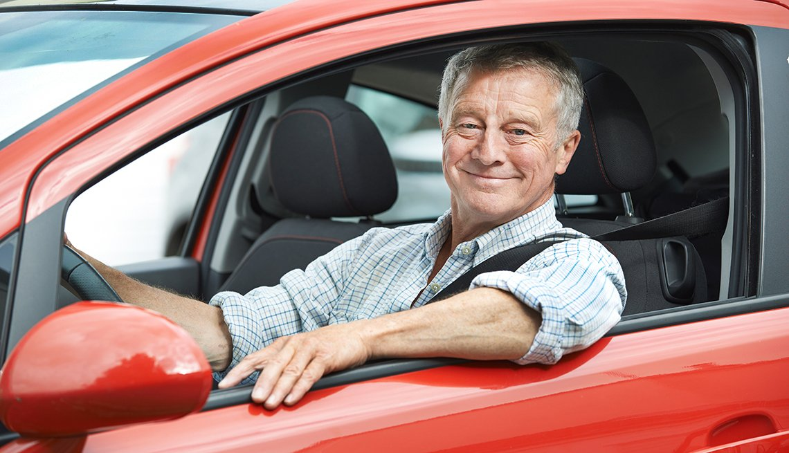 Senior driver in red car, Fitness to Drive Screening Test