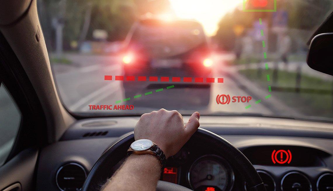 Sistema de frenado automático de un automóvil.