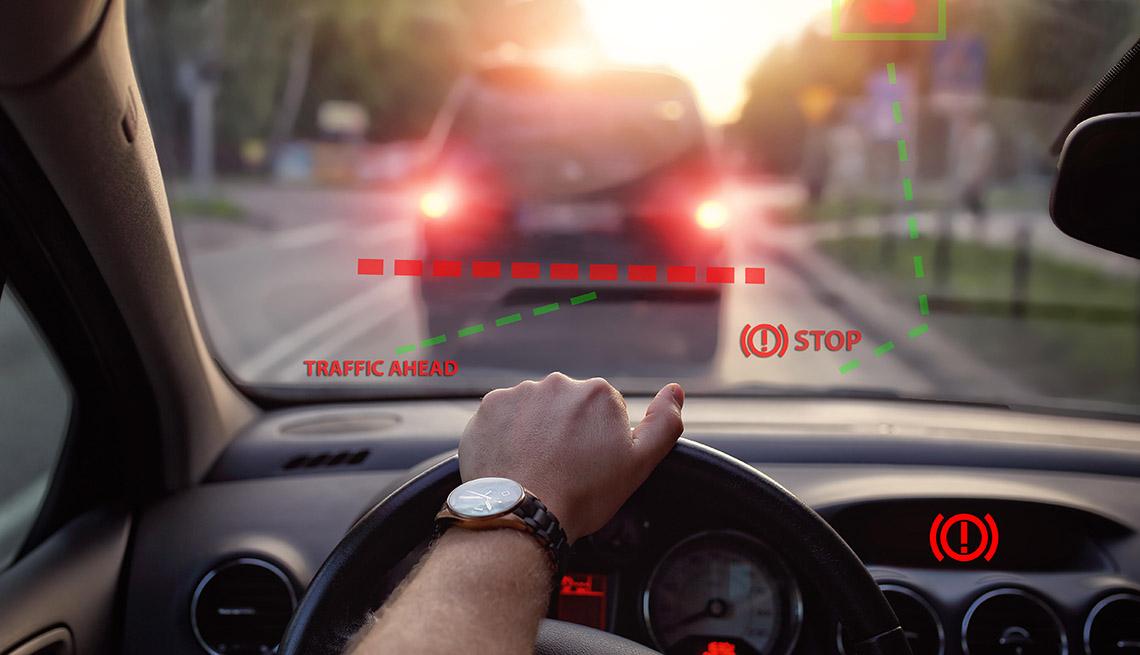 Automatic braking displayed on windshield