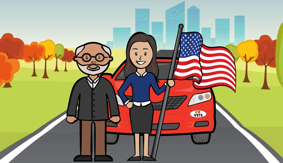 Graphic of older man and woman standing in front of a vehicle with the American flag