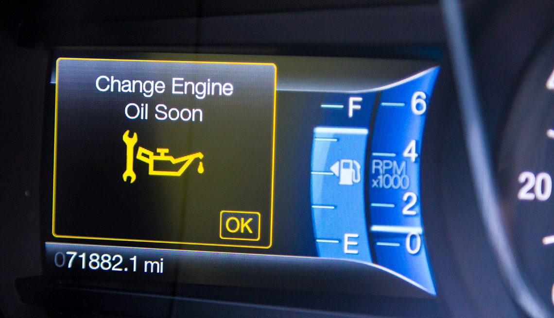 Change oil soon message on car dashboard