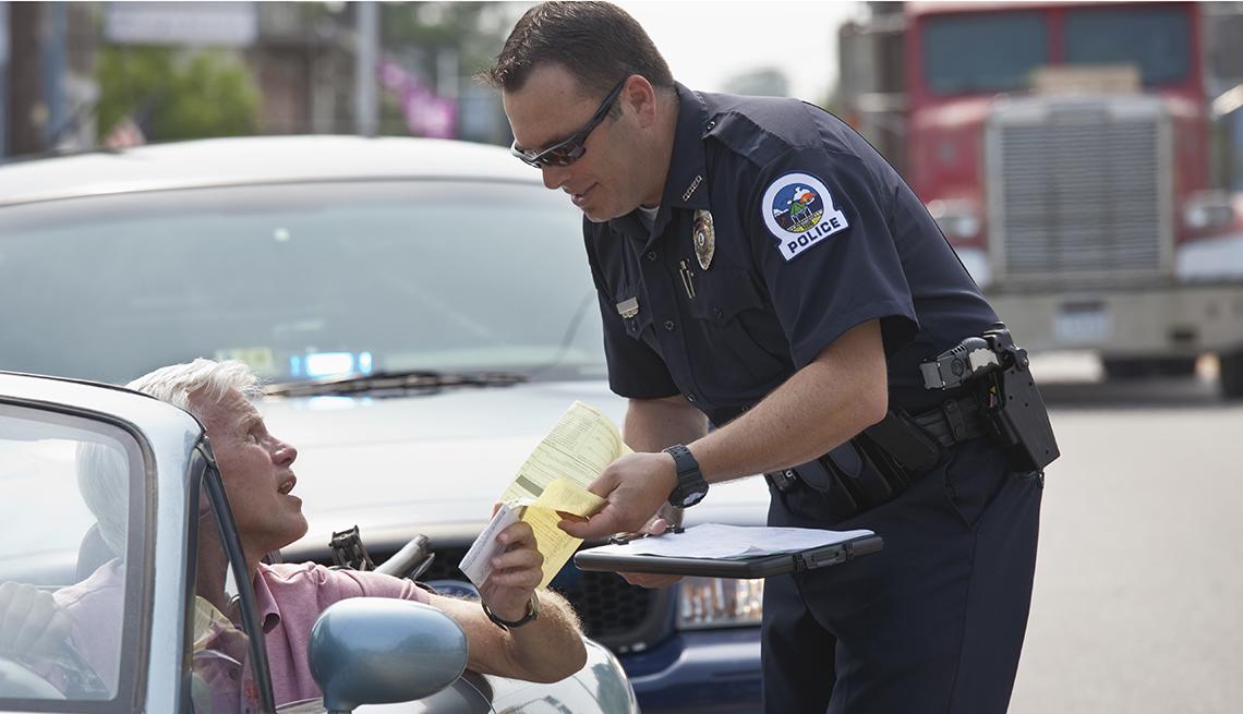 man getting a ticket