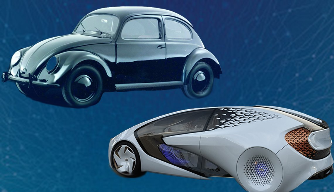 Image of an old Volkswagen Beetle and Toyota's new Concept-I vehicle