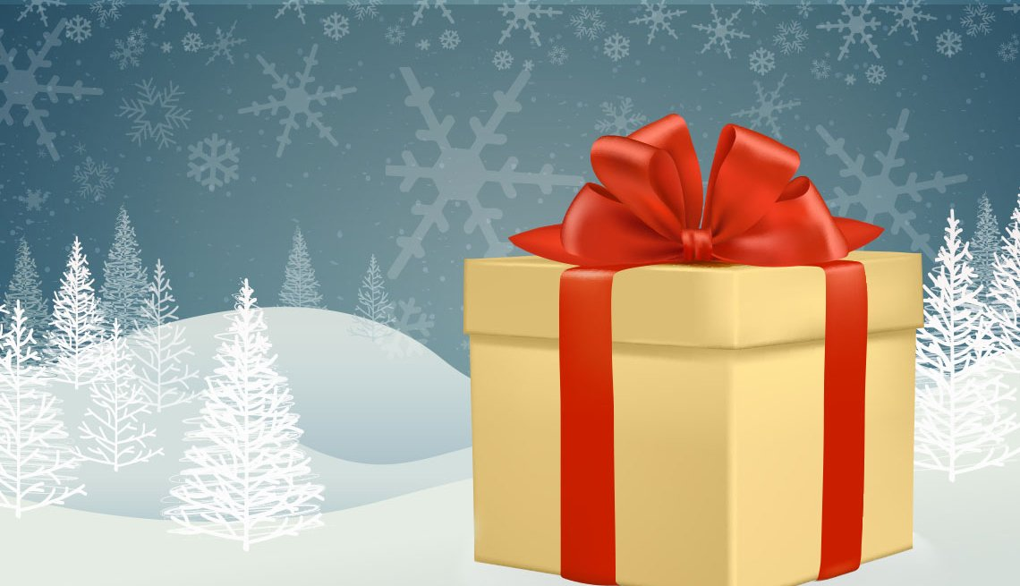 graphic of Christmas gift with red ribbon