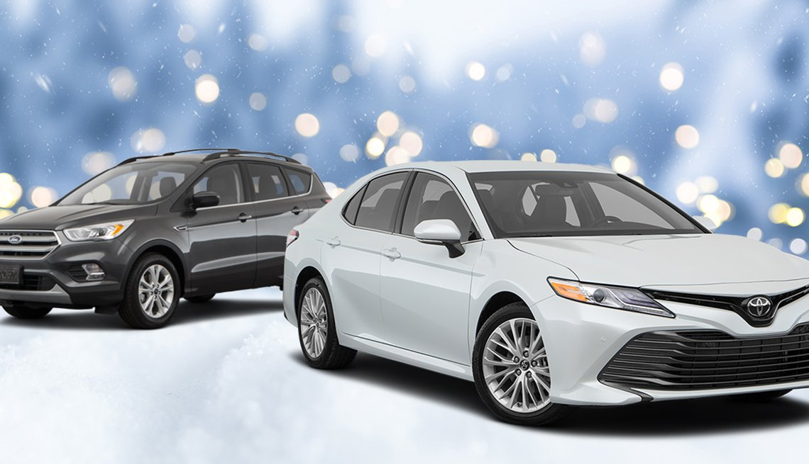 toyota and subaru cars featured with a snowy graphic background