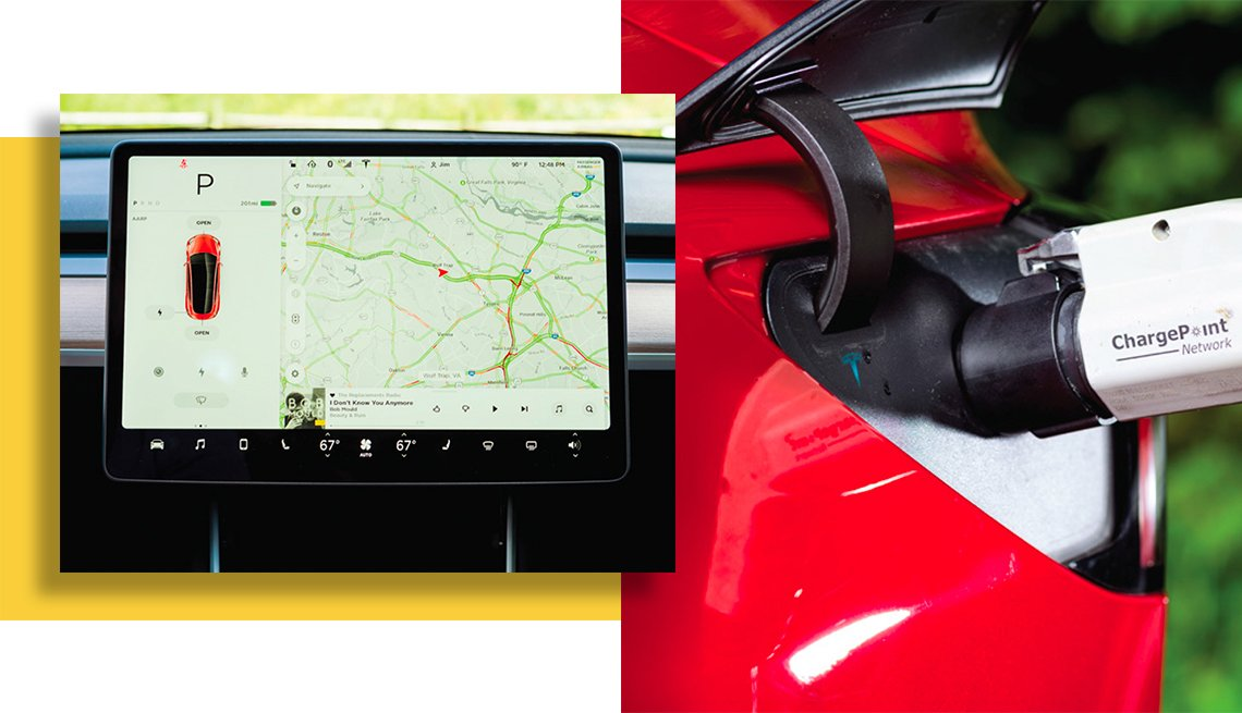 electric car dashboard and charger