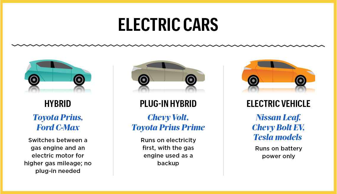 infographic of various electric cars