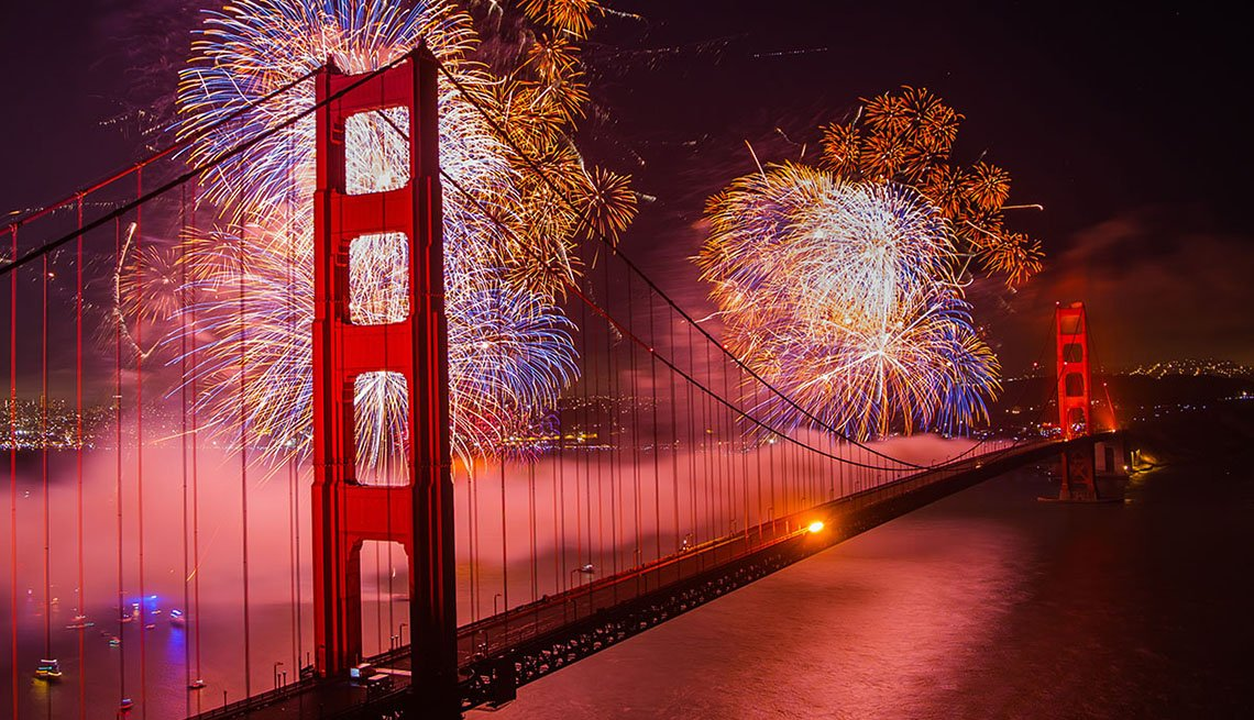 aerial photo of Golden Gate Bridge with fireworks in background