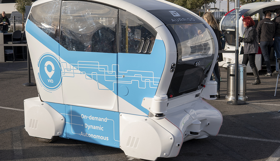 Aurrigo self-driving car at the 2019 CES Show