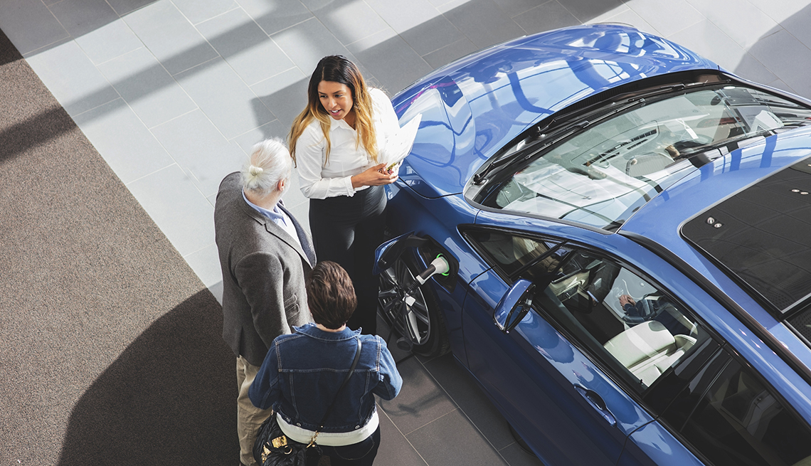 couple looking at a car in a dealership