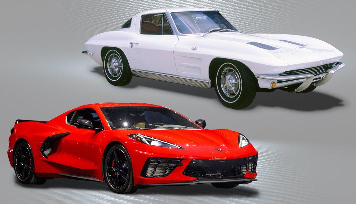 Dos Corvettes, un clásico de color blanco y otro moderno deportivo de color rojo