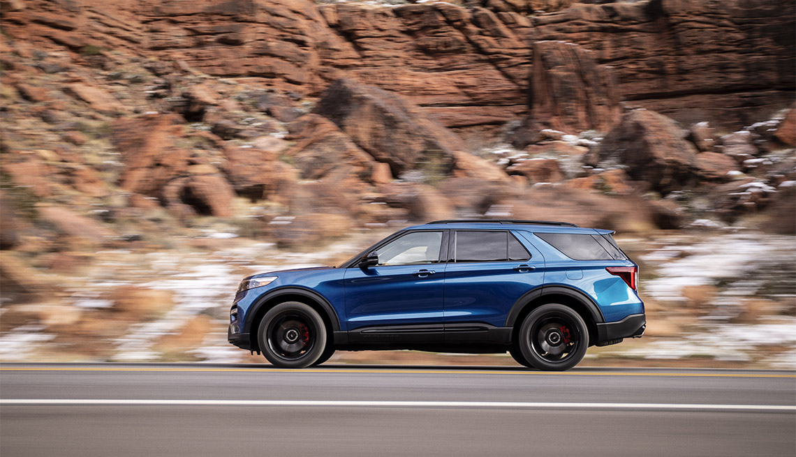 blue Ford Explorer ST on the road