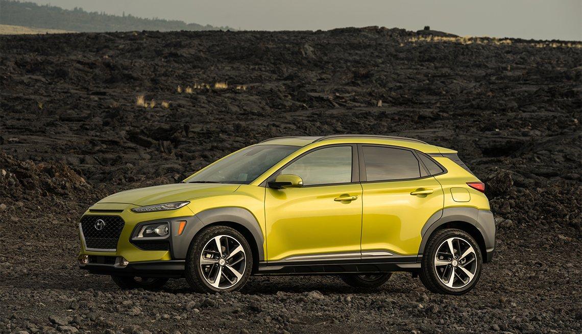 yellow Hyundai Kona