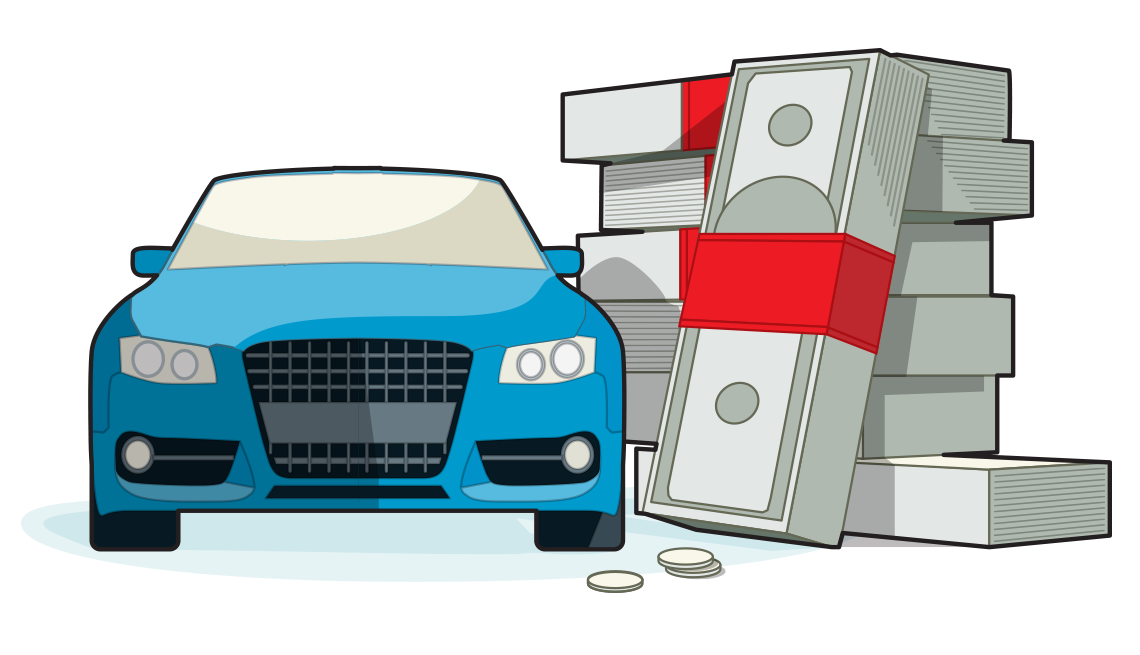 illustration of the front of a blue car parked next to a giant stack of wrapped bundles of dollars