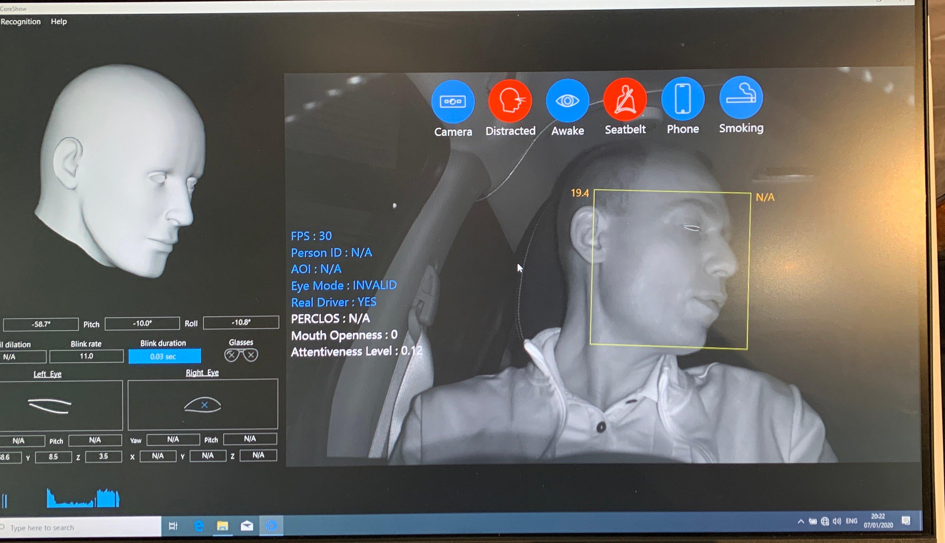 Man in passenger seat demoing Eyesight Driver Assistant Monitoring