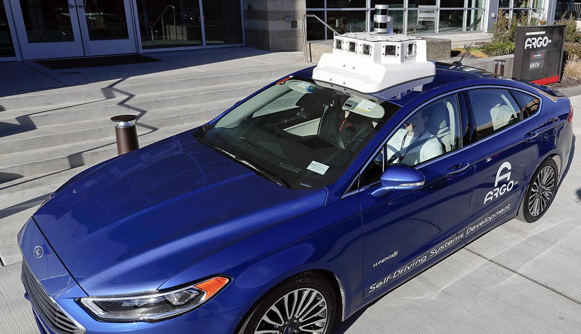 A blue self driving car