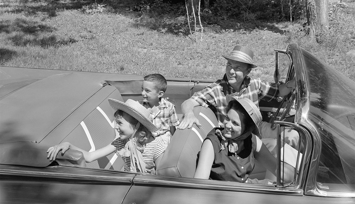 item 3 of Gallery image - 1960s family of four at drive in