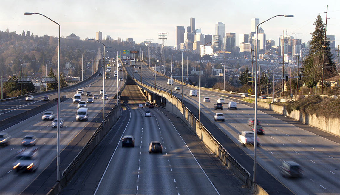 Rush hour traffic is lighter than normal during the morning commute heading in and out of Seattle on Interstate 5