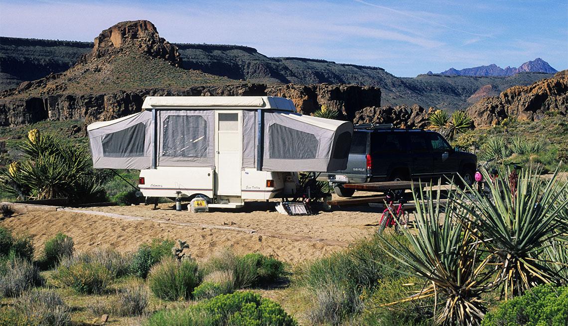 pop-up camper at Mojave National Preserve