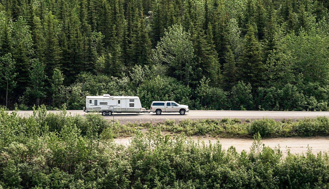 Travel camper on an Alaskan road trip