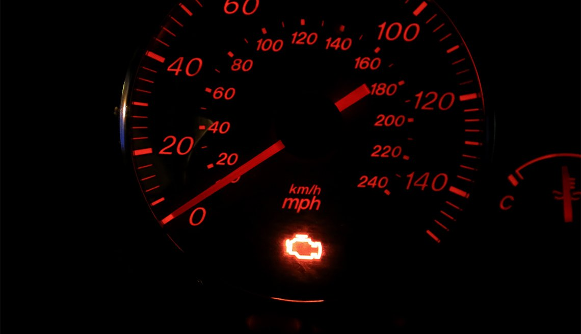 check engine light on vehicle dashboard