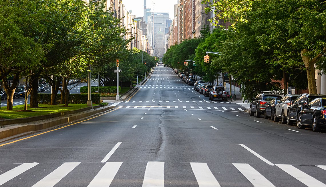 Park Avenue stands near empty during the coronavirus pandemic