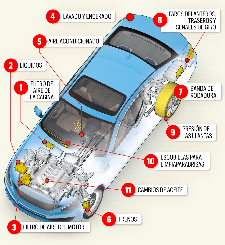 Gráfico muestra los puntos más críticos para el mantenimiento del auto