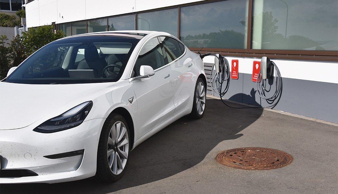 Tesla Model 3 at a charging station