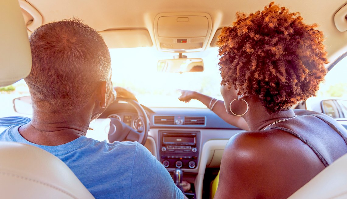 Older Black couple sees something on their drive
