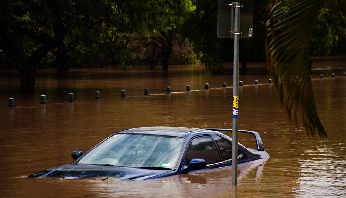 flooded car on a street