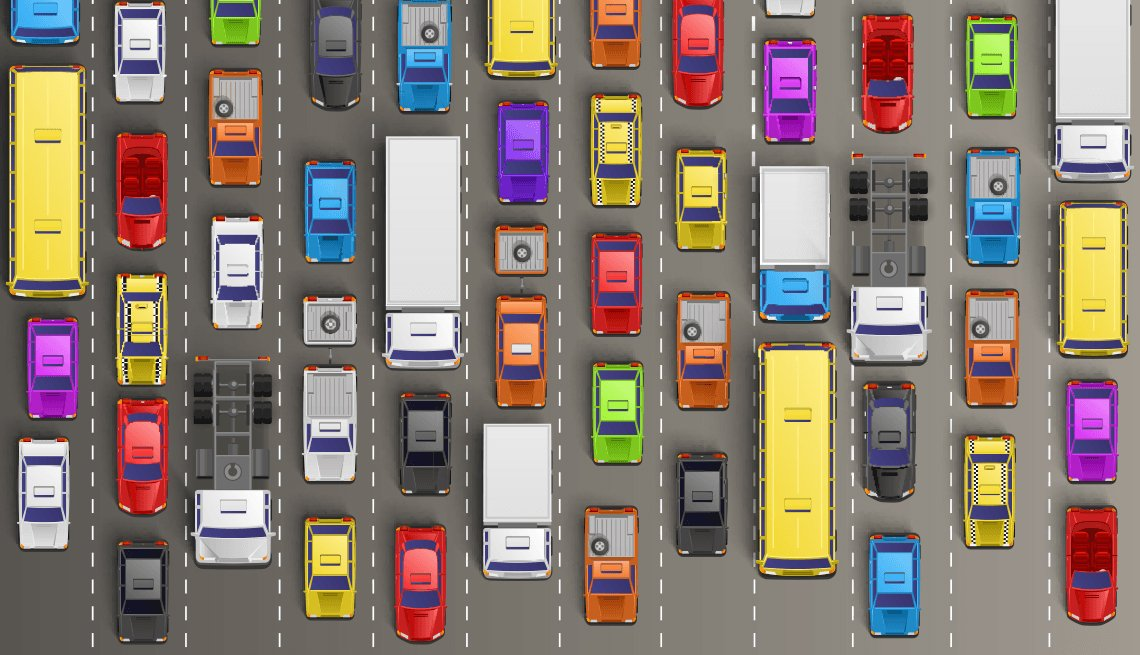 Illustration of Trucks and Cars on Highway, S.M.A.R.T. Driver Tips, AARP Driver Safety
