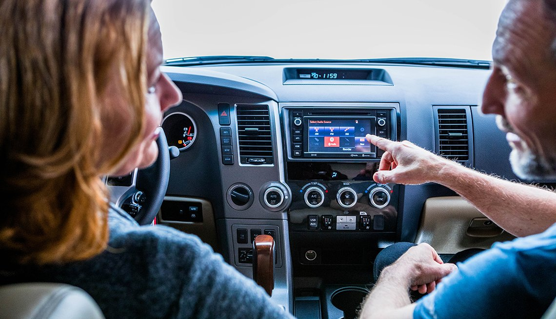 Woman and Man talking, Interior Car Features, Safe Driving Resources