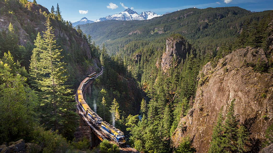 Aerial view of train tour through the Canadian Rockies