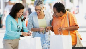 Group of middle-aged woman with shopping bags, Miami, Florida, United States