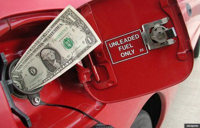 Red car fuel door with dollar bill, Fuel cost calculator