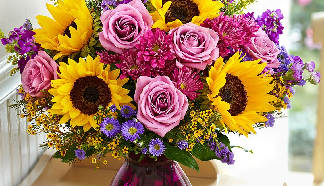 1800 flowers Sunflowers in Purple Vase