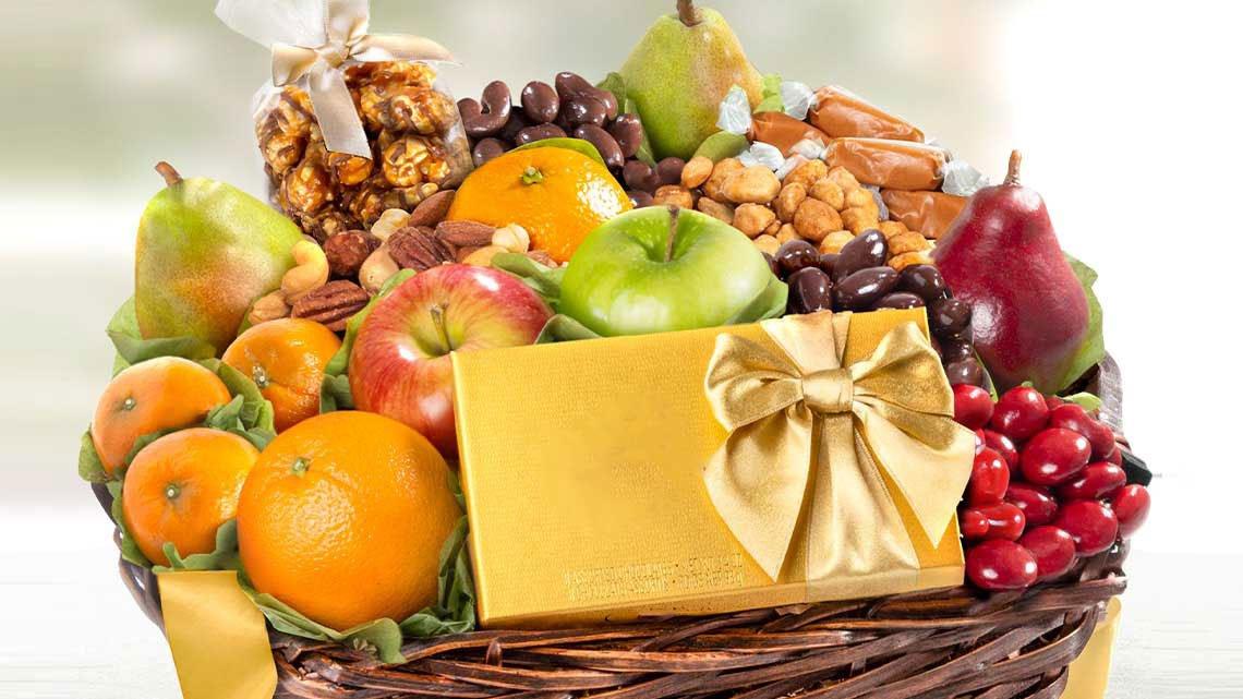 basket fruits, candies
