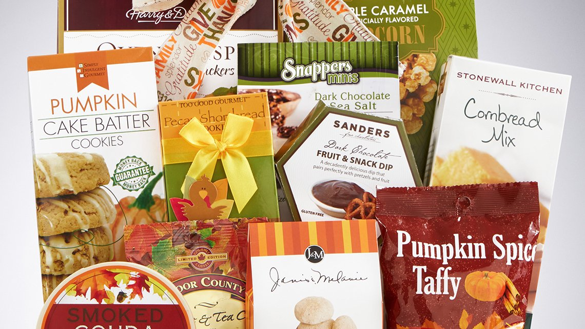 Assorted packages of baking mixes and snacks