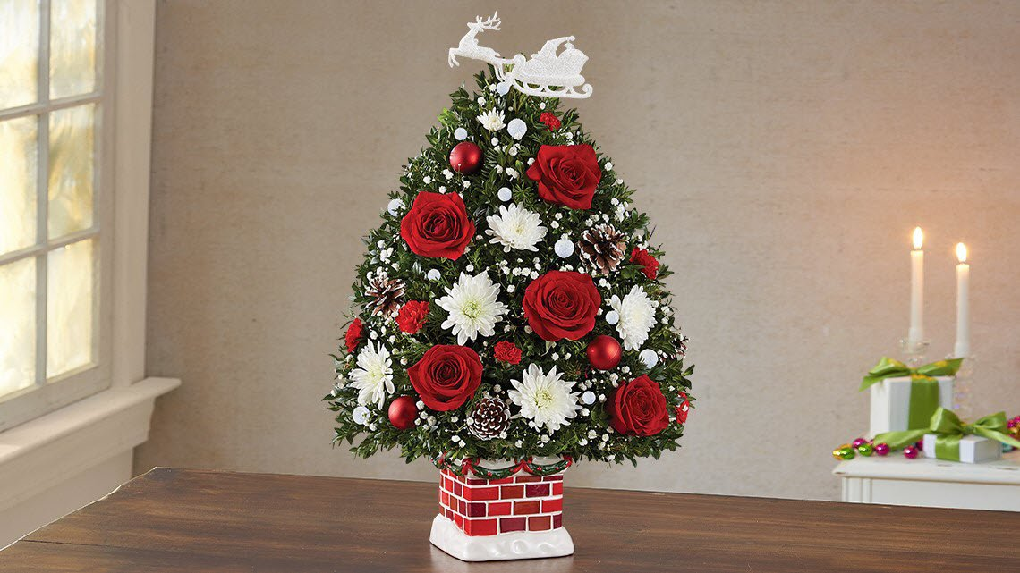 Christmas tree arrangement, red and white flowers