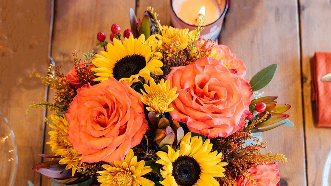 fall themed flowers assortment