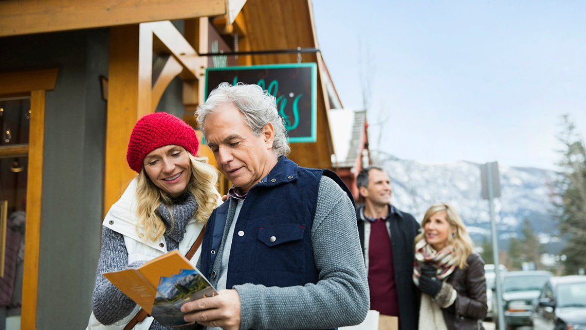 Two couples ski resort