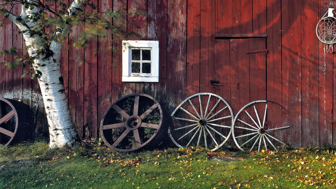wall red barn, tree, wagon wheels