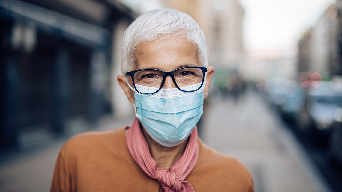 Portrait mature woman in glasses and face mask