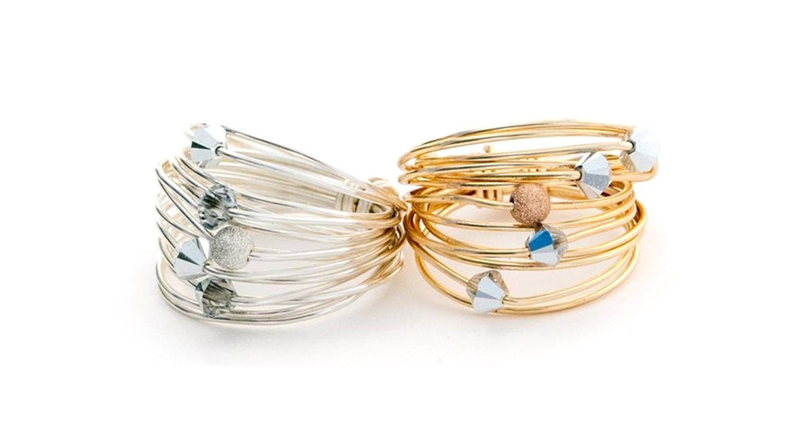 gold and silver stackable rings