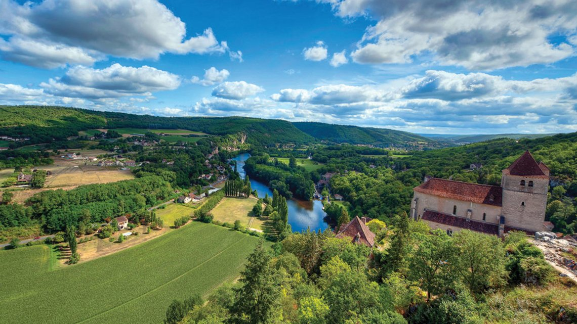 View from high up, river valley, chateau