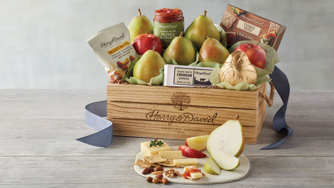 Display fruit, cheese in crate
