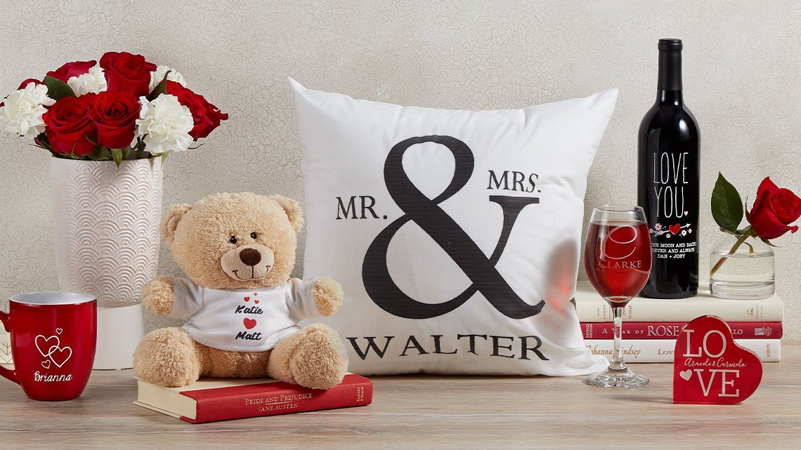 valentine bear pillow wine bouquet
